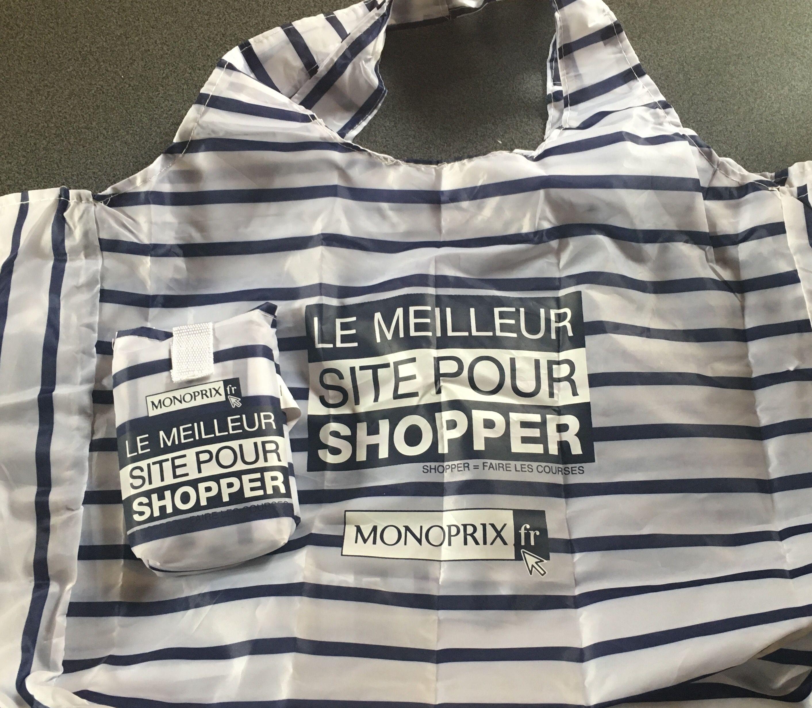 Le rayé bleu marine  - sac Monoprix j'adore les courses en sac Eiffel Tower shopping bag tote  Monoprix