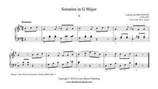 Beethoven Sonatina In G Major Ii Romanze Www