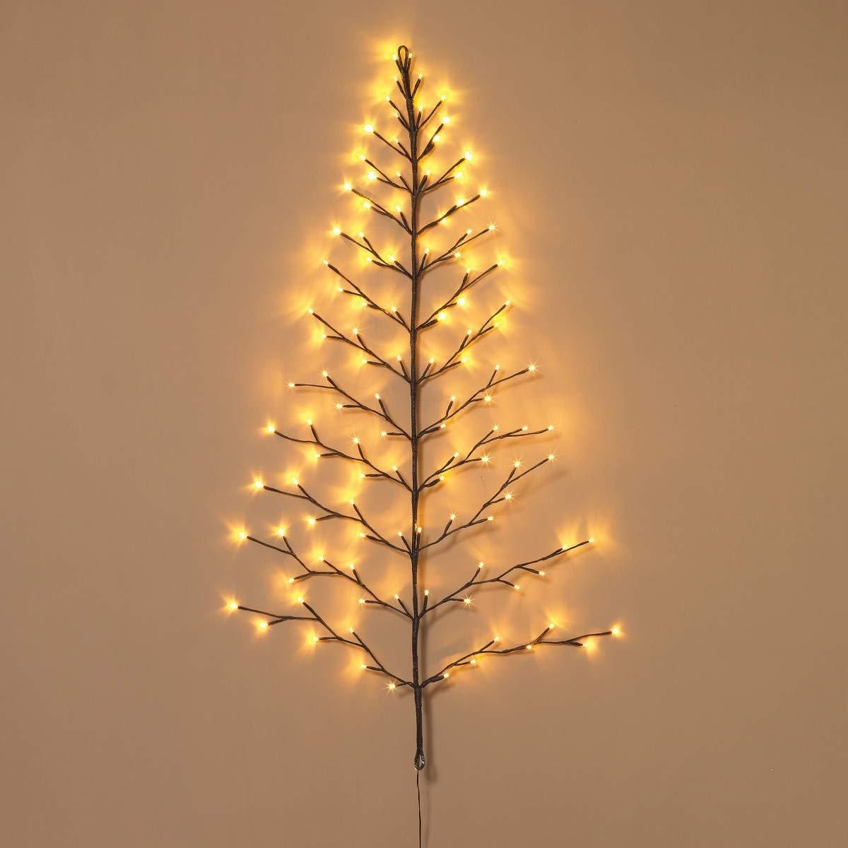Tenwaterloo Lighted Christmas Wall Tree Indoor Outdoor Led 4 Foot High Warm White Lights Battery Operated With Timer Artificial Christmas Tree Tree Wall White Led Lights