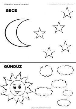 Gece Gunduz Calisma Sayfasi Boyama Sayfalari Gece Ve Faaliyetler