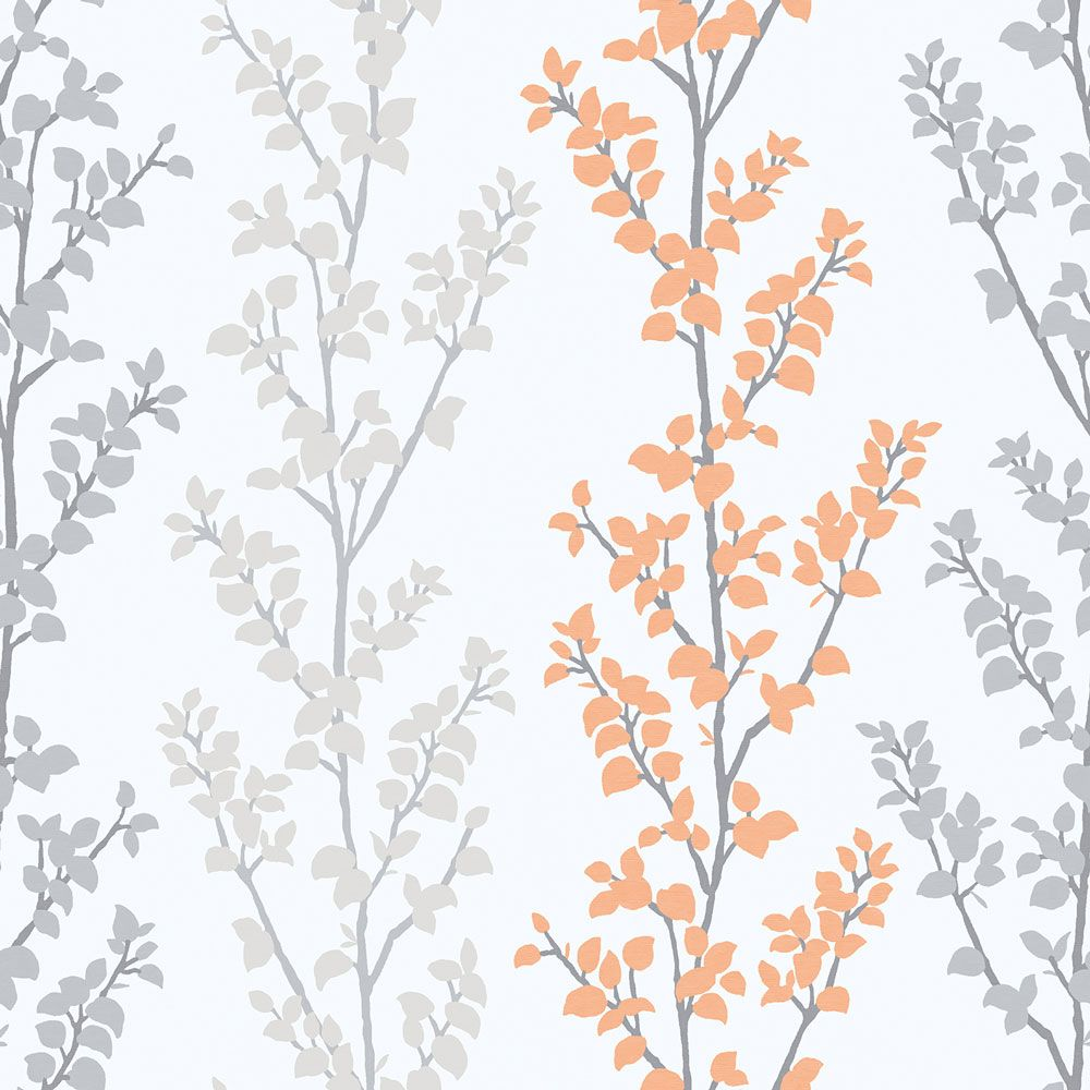 Branches Orange Wallpaper By Galerie Grey Floral Wallp