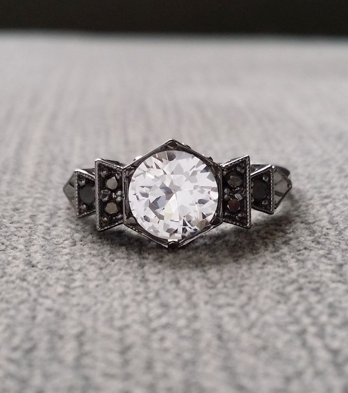 Antique Black Diamond White Sapphire Engagement Ring White Gold