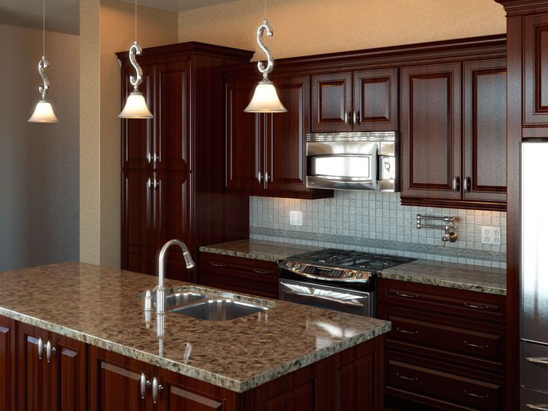 Classic kitchen interior design beautiful hanging light for Kitchen wardrobe design