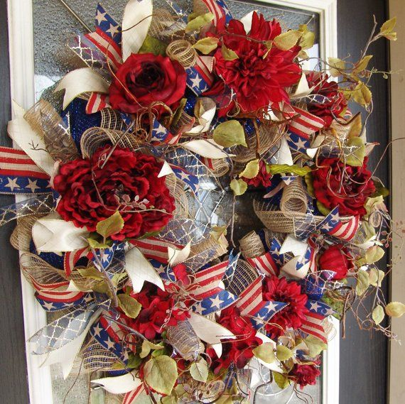 Stupendous Xl Deluxe Elegant Americana 4Th Of July Rustic Red Floral Door Handles Collection Dhjemzonderlifede