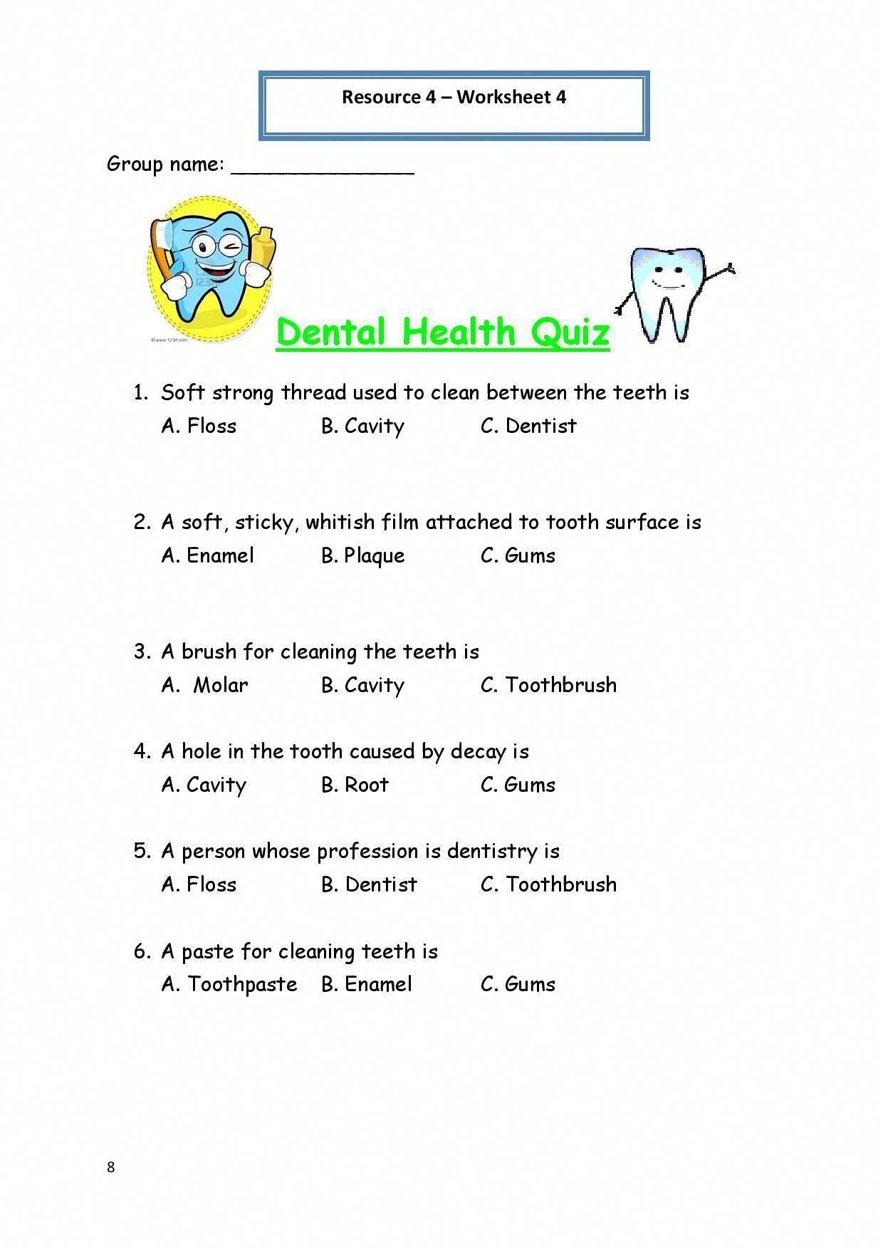 Printable Worksheets For Personal Hygiene Personal Hygiene Worksheet 4 Dental Health Quiz 212x300 Personal Zahnpflege Selbstverteidigung Tipps Zahne Putzen