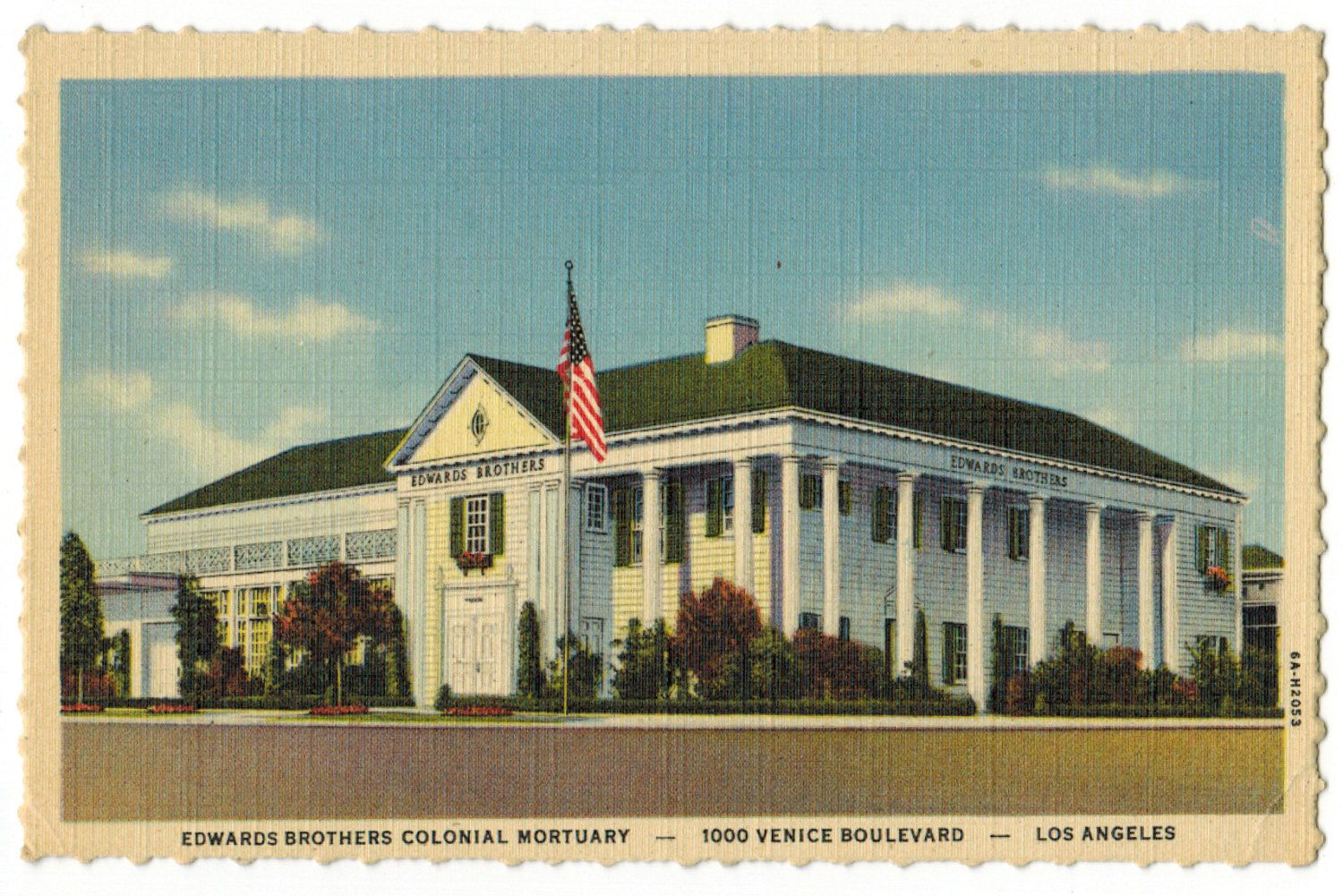 California Vintage Linen Postcard Los Angeles Edwards Brothers Colonial Mortuary 1930s Advertisement Funeral Hom Postcard Antique Postcard Funeral Home