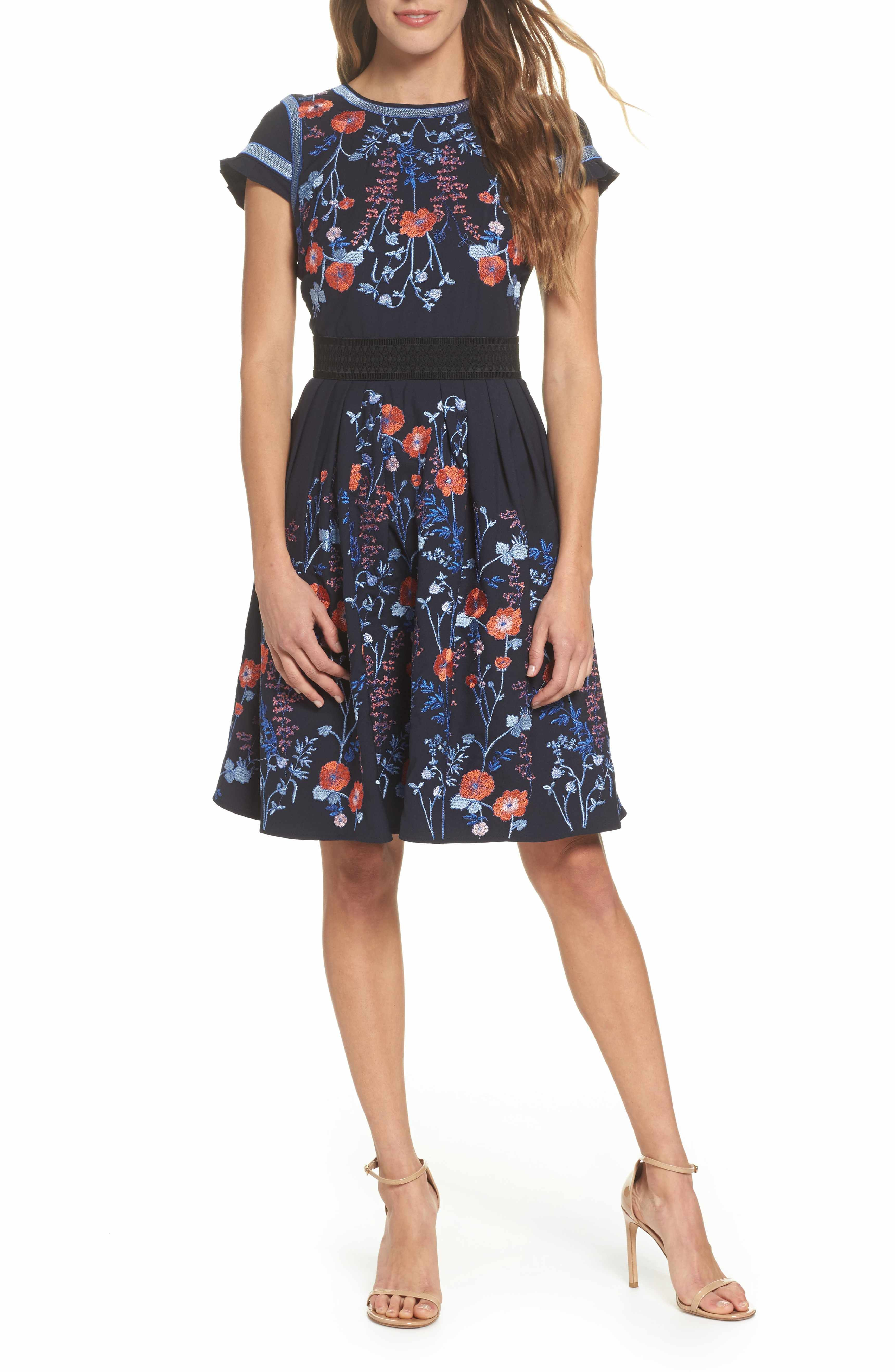 Nordstrom dresses wedding guest  Main Image  Foxiedox Senna Embroidered Fit u Flare Dress Gorgeous