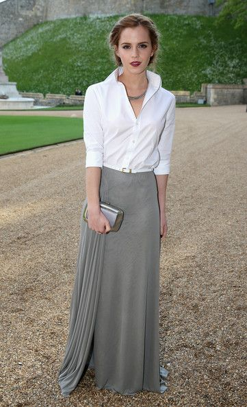 Actress Emma Watson arrives for a dinner to celebrate the work of The Royal Marsden hosted by the Duke of Cambridge at Windsor Castle on May...