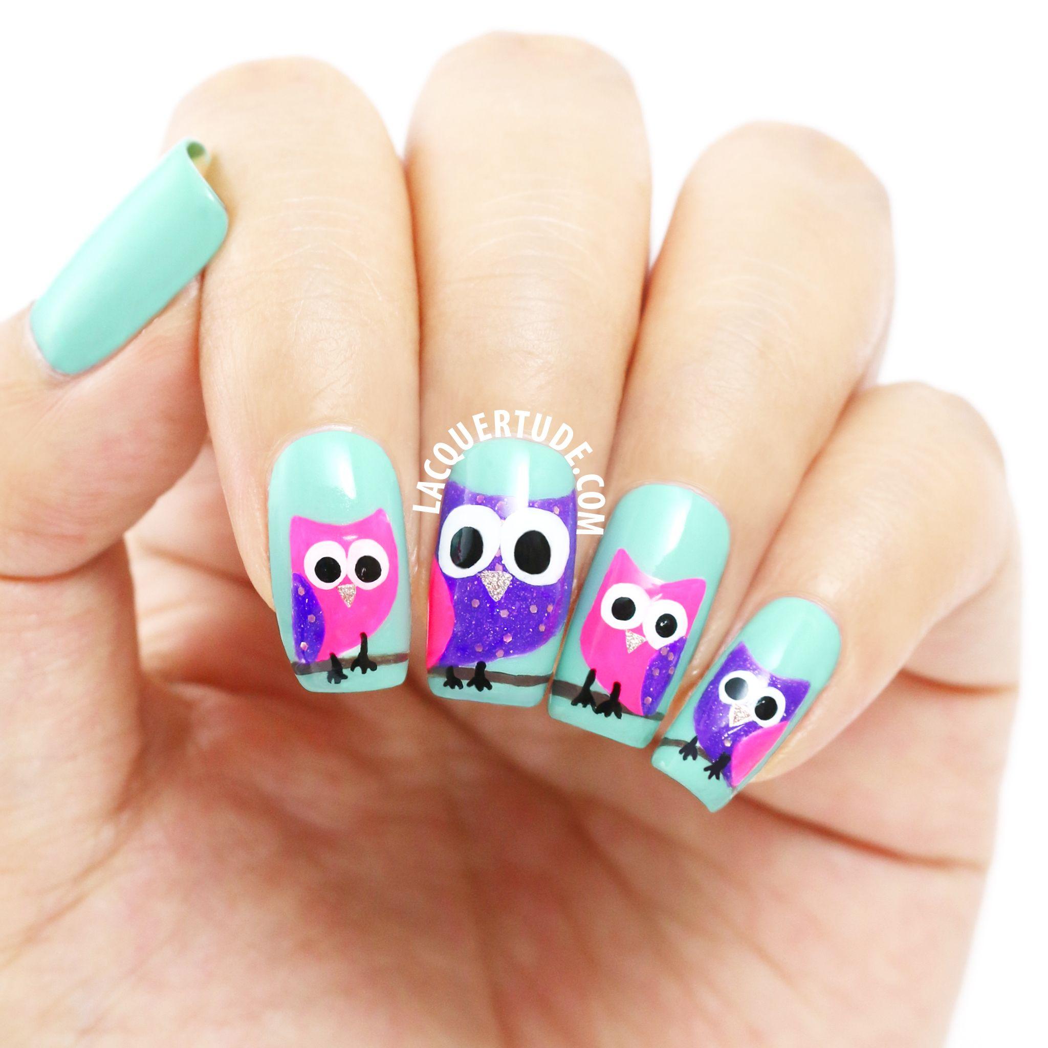 Lacquertude_PP Owl Nail Art | Nails | Pinterest | Owl nail art, Owl ...