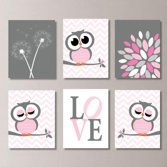Baby Girl Nursery Art. Girl Nursery Decor. Owl Nursery Art. Owl ...