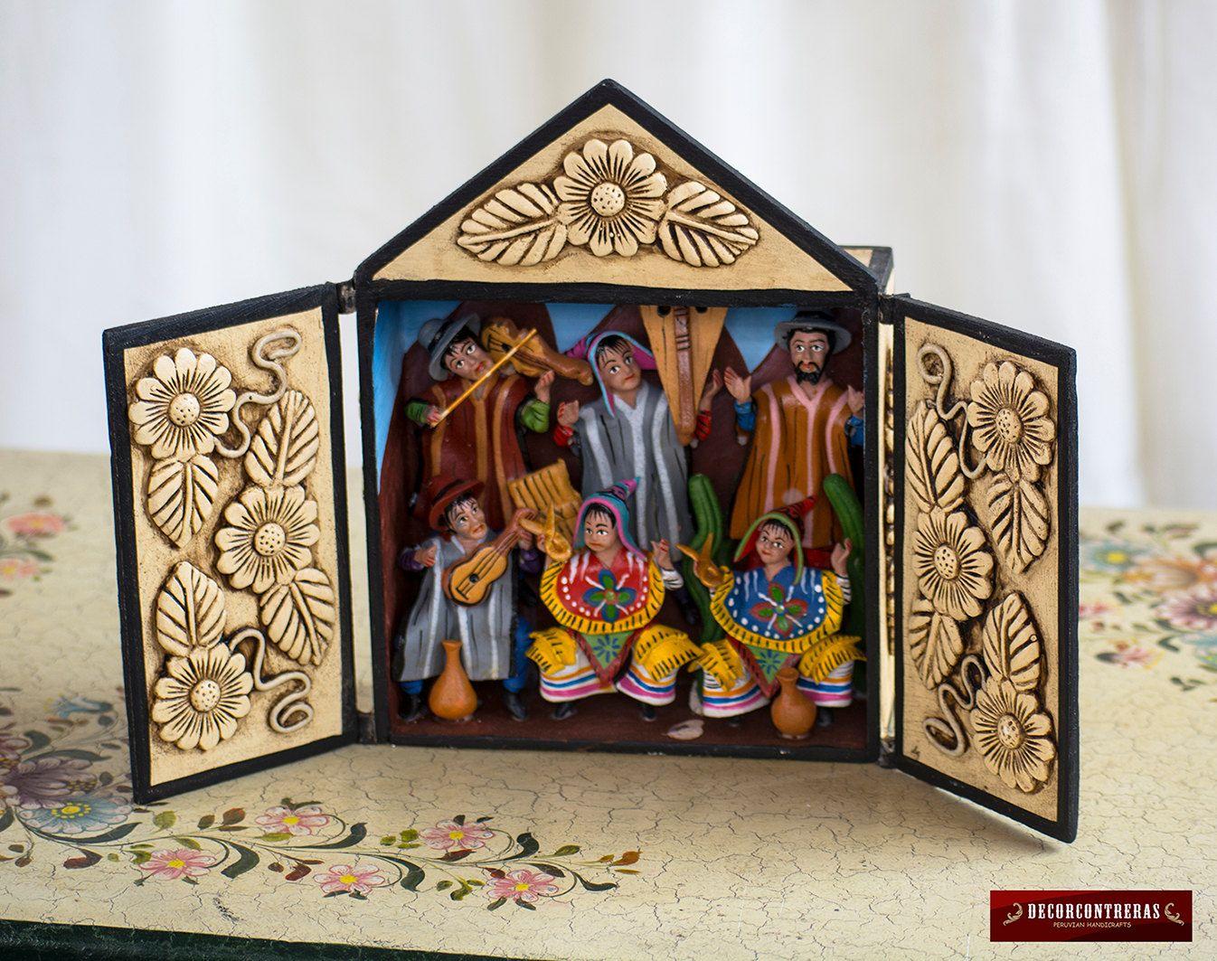 Retablo hecho a mano de madera y ceramica pintada fiesta - Arte y decoracion ...