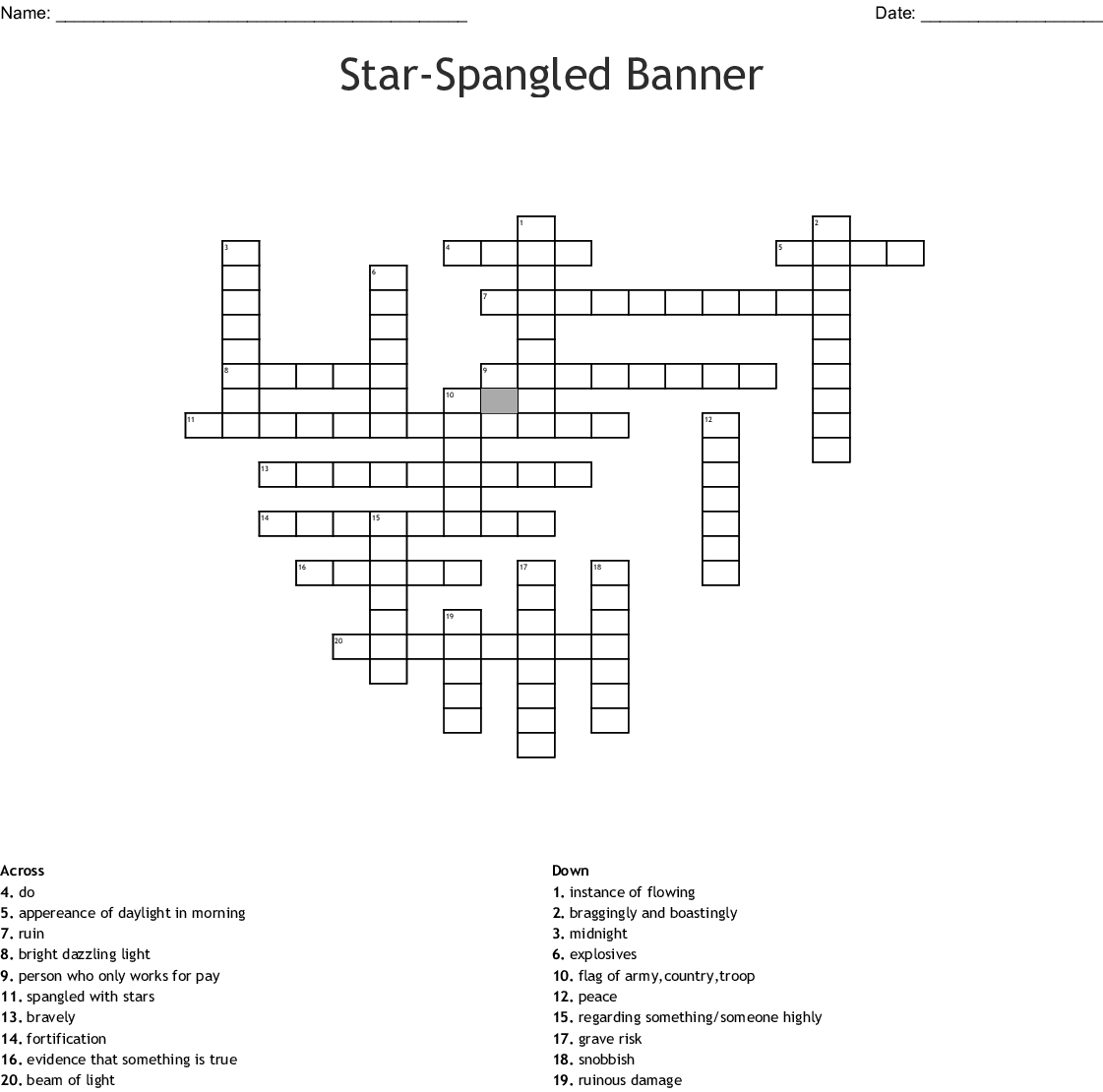 Star Spangled Banner Crossword Puzzle Di