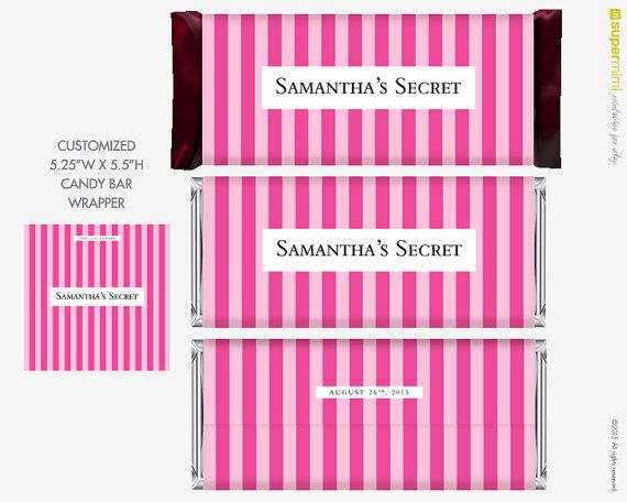 Candy Bar Wrapper Labels Victoria Secret Style Themed Pink Stripes Customized Diy Printable Candy Bar Wrappers Victoria Secret Party Sweet Sixteen Parties