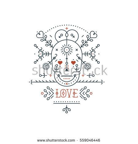 Vintage Love Elements With Line Romantic And Abstract Shapes Vector Lines Heart Skull Typography On Black Background Vintage Love Grunge Textures Abstract