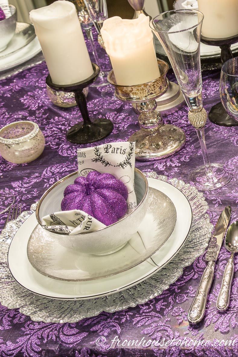 Elegant Purple And Silver Thanksgiving Tablescape Entertaining Diva From House To Home Thanksgiving Table Settings Thanksgiving Tablescapes Thanksgiving Table Decorations