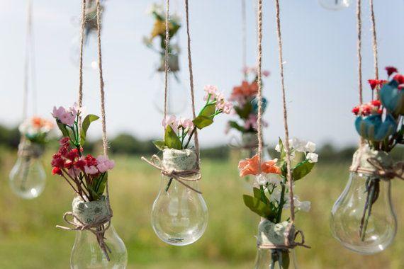 Light Bulb Vases Hanging Light Bulbs by TheBlushingBride89 on Etsy
