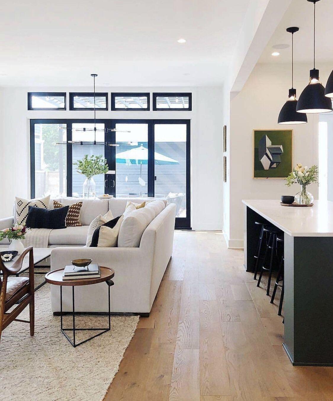 Good For Those Light Pine Floors Living Room And Kitchen Design Open Concept Living Room House Design Kitchen