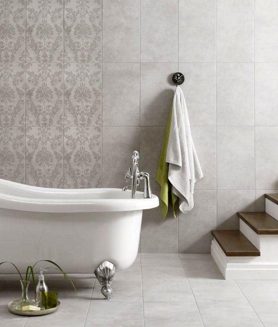 Middleton Light Grey Damask Decor Tiles Damask Decor Grey Decor Damask Bathroom