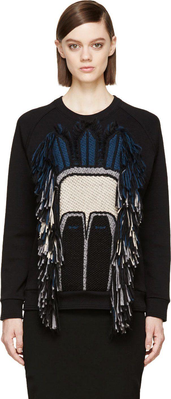 Lanvin: Black Fringed Mask Sweatshirt | SSENSE