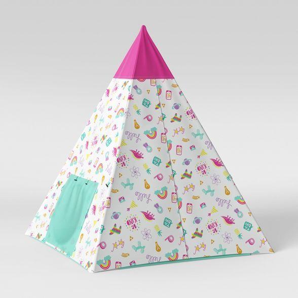Kids' Tent Doodles Pink/Aqua - Pillowfort™