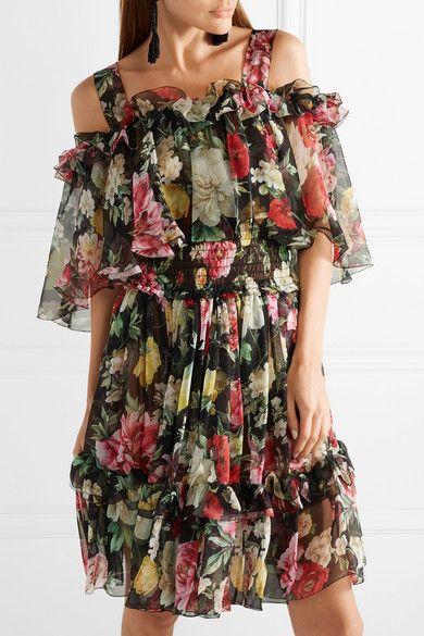 5c706b414f Dolce   Gabbana - Cold-shoulder Floral-print Silk-chiffon Mini Dress - Black