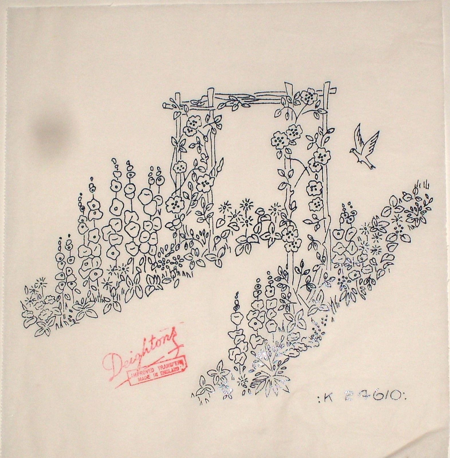 Vintage Deighton embroidery transfer - Country garden with flower ...