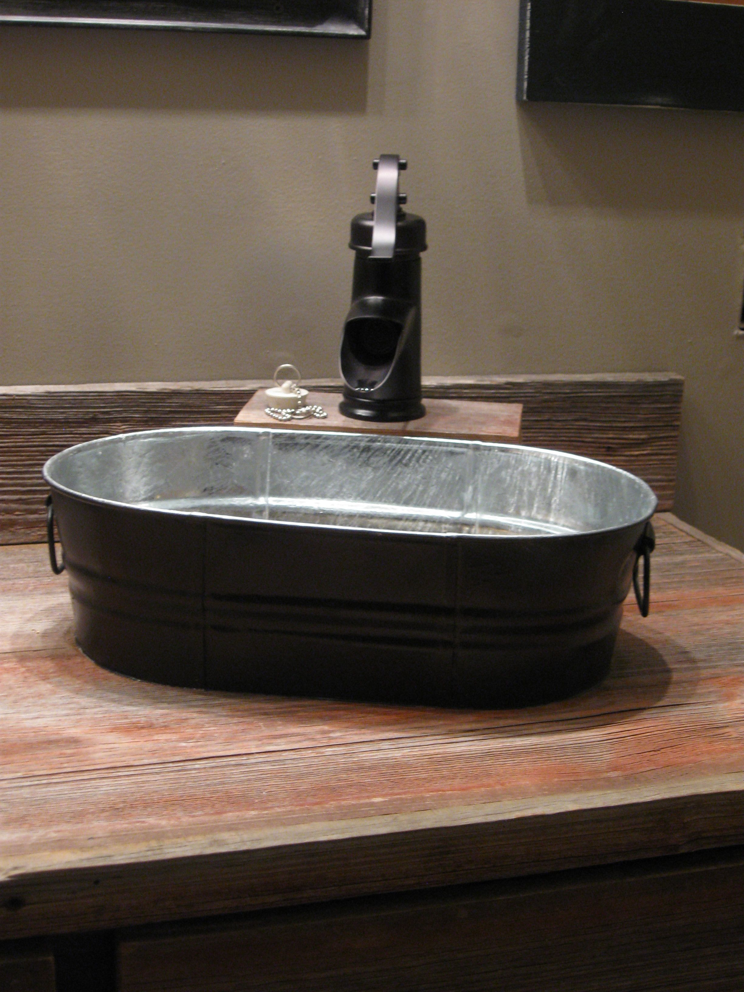 Our new sinks and faucets wash tubs from tractor supply for Galvanized tub kitchen sink