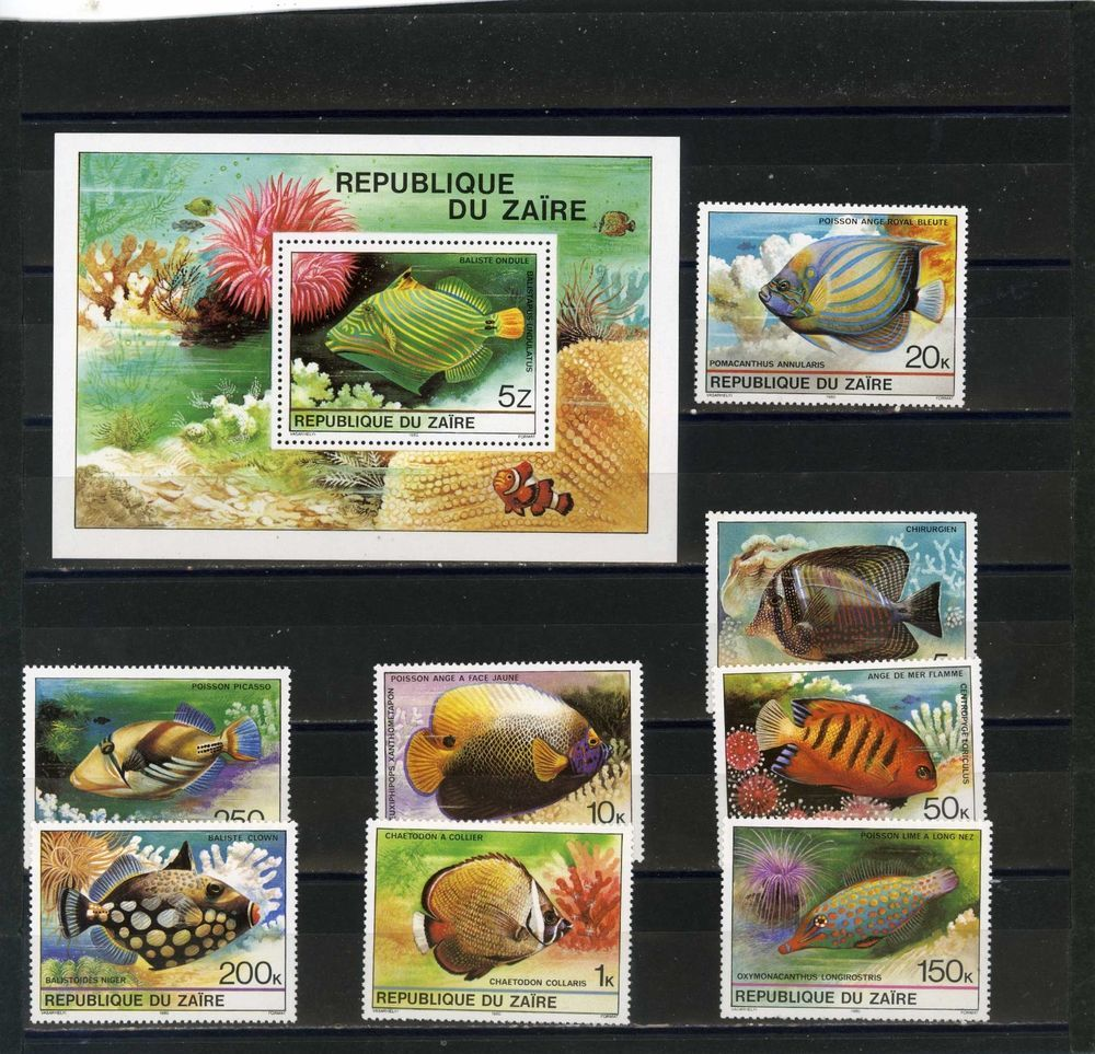 ZAIRE 1978 Sc#862-871 TROPICAL FISH SET OF 9 STAMPS & S/S MNH
