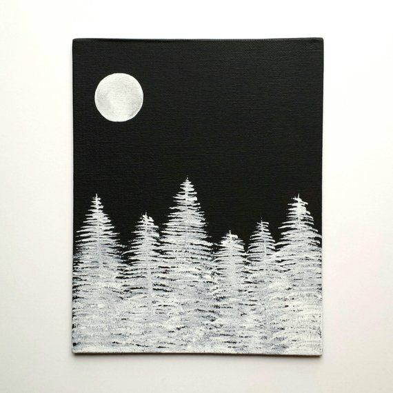 Acrylic Painting On Canvas Panel Black And White Forest Art Full Moon Graphic Art Acrylic Painting Canvas Canvas Art Painting Black Canvas Art
