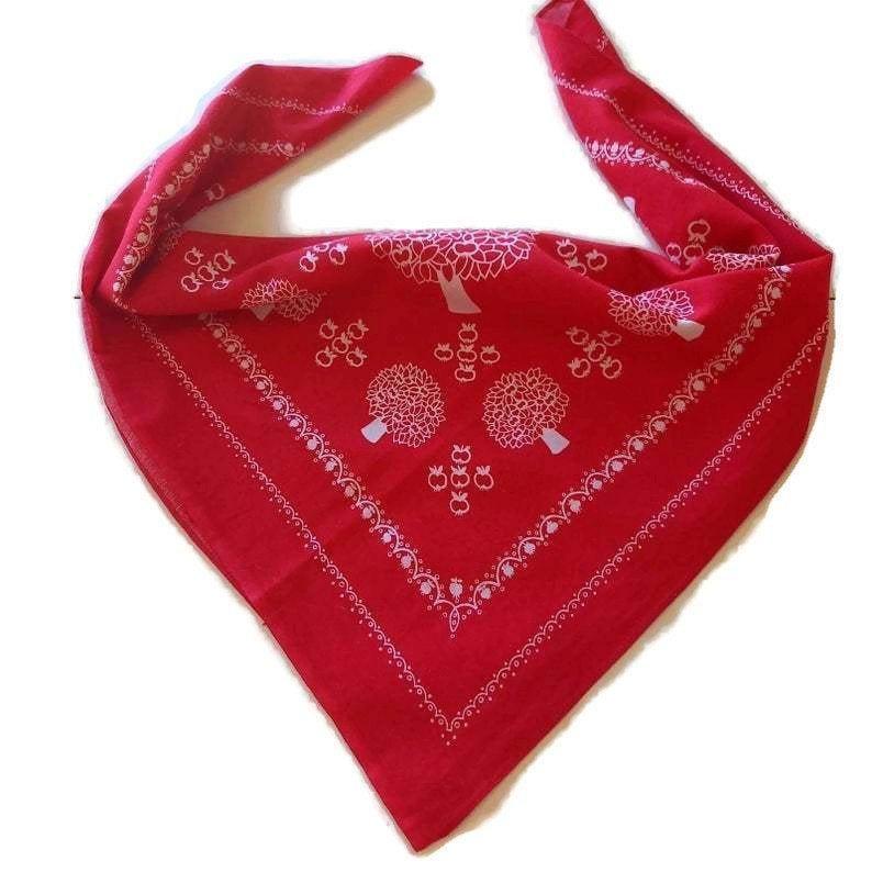Vintage RED COTTON BANDANA retro biker scarf 23.6'' x | Etsy