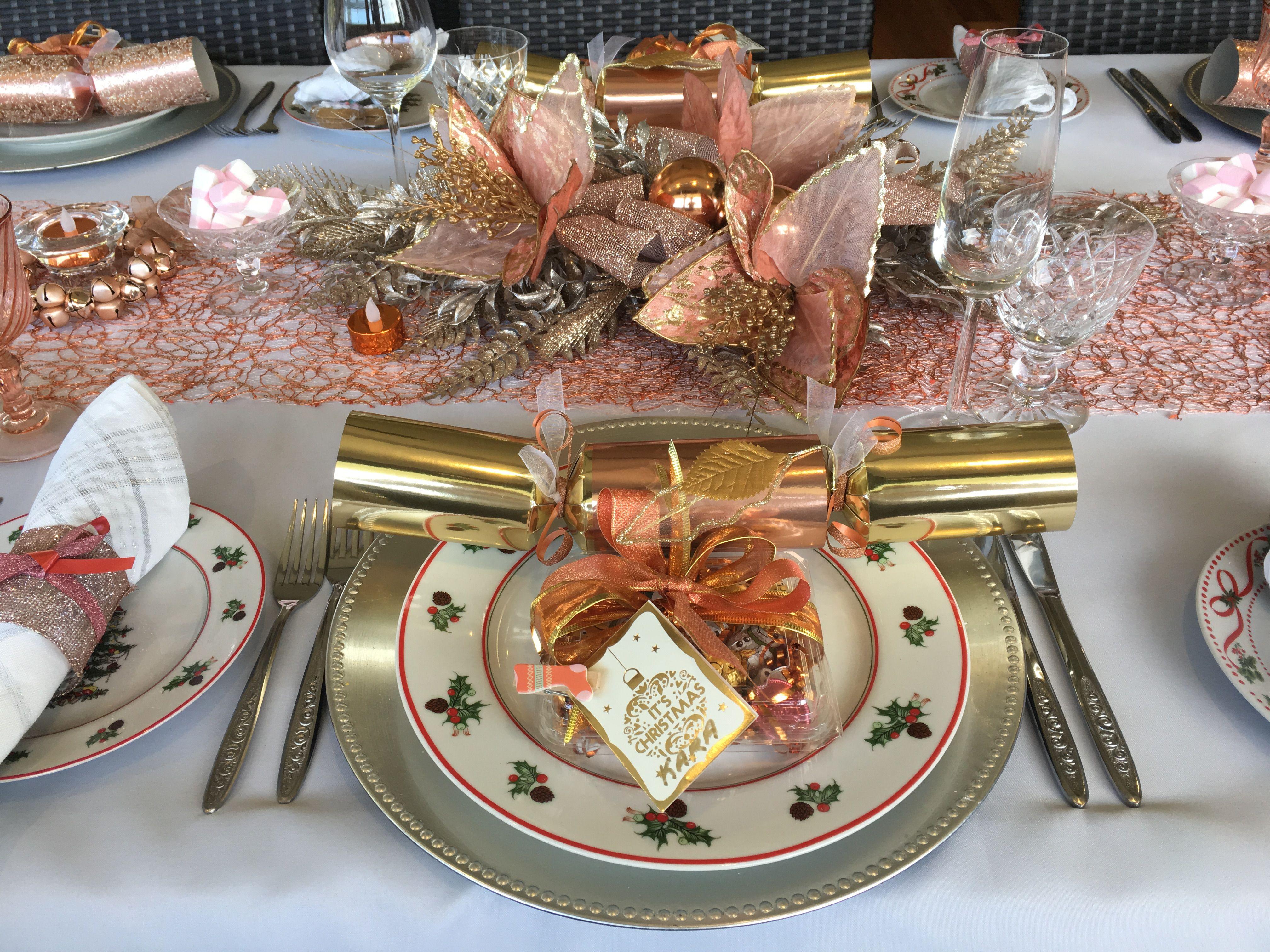 Christmas Table Setting In Rose Gold Weihnachtsdeko