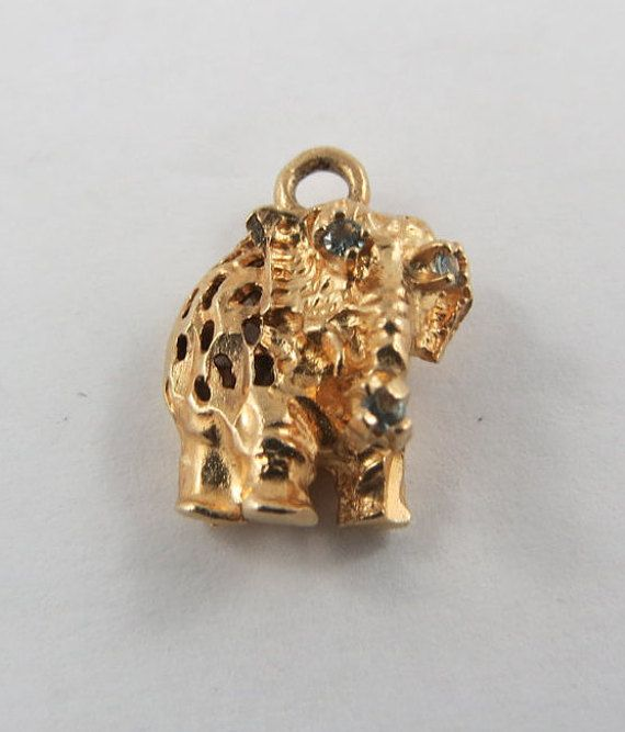 Reticulated Elephant With Blue Stone Eyes And Trunk 10k Gold Etsy Blue Stone Vintage Charms Red Stone