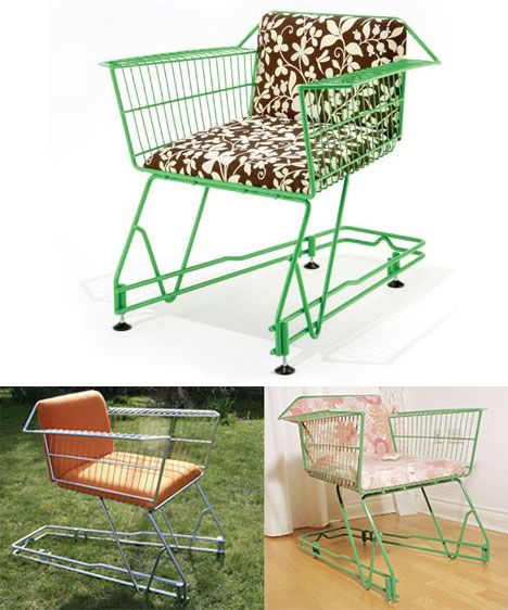 20 Unusual Furniture Hacks | A shopping cart turned into a comfy chair. Now to just get a shopping cart lol!