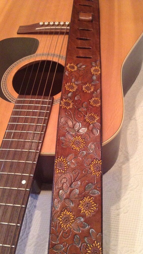 Embossed Leather Guitar Strap with Beautifully Embossed Sunflowers ...
