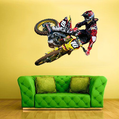 Full color wall decal mural sticker decor art poster gift for Dirt bike wall mural