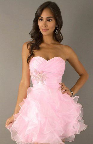 Pleats Chiffon Cocktail/Homecoming Dress With Ruffles Hd0487