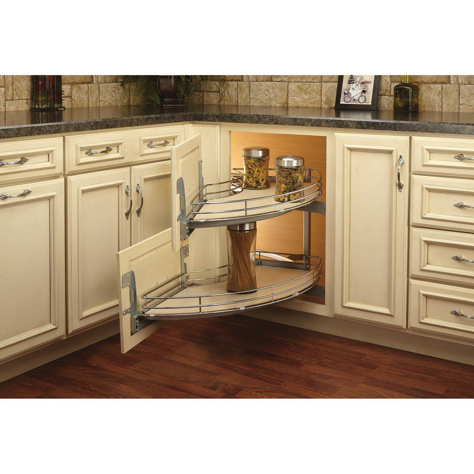 Curve 2 Tier Right-Handed Blind Corner Cabinet Organizer ...