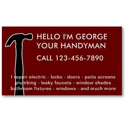 Simple Handyman Business Cards Business Cards And Business - Handyman business card template