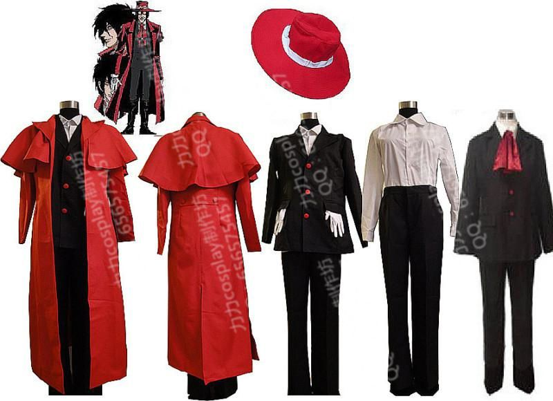 Anime Hellsing Ultimate Alucard Cosplay Costume Red Over Coat With Hat set