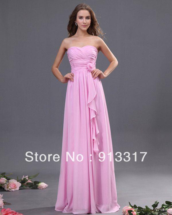 Modest Pink Sweetheart Sleeveless Empire Waist Floor ...