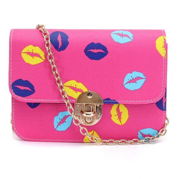 Women Casual Lip Pattern Leather Crossbody Bag Shoulder Bag