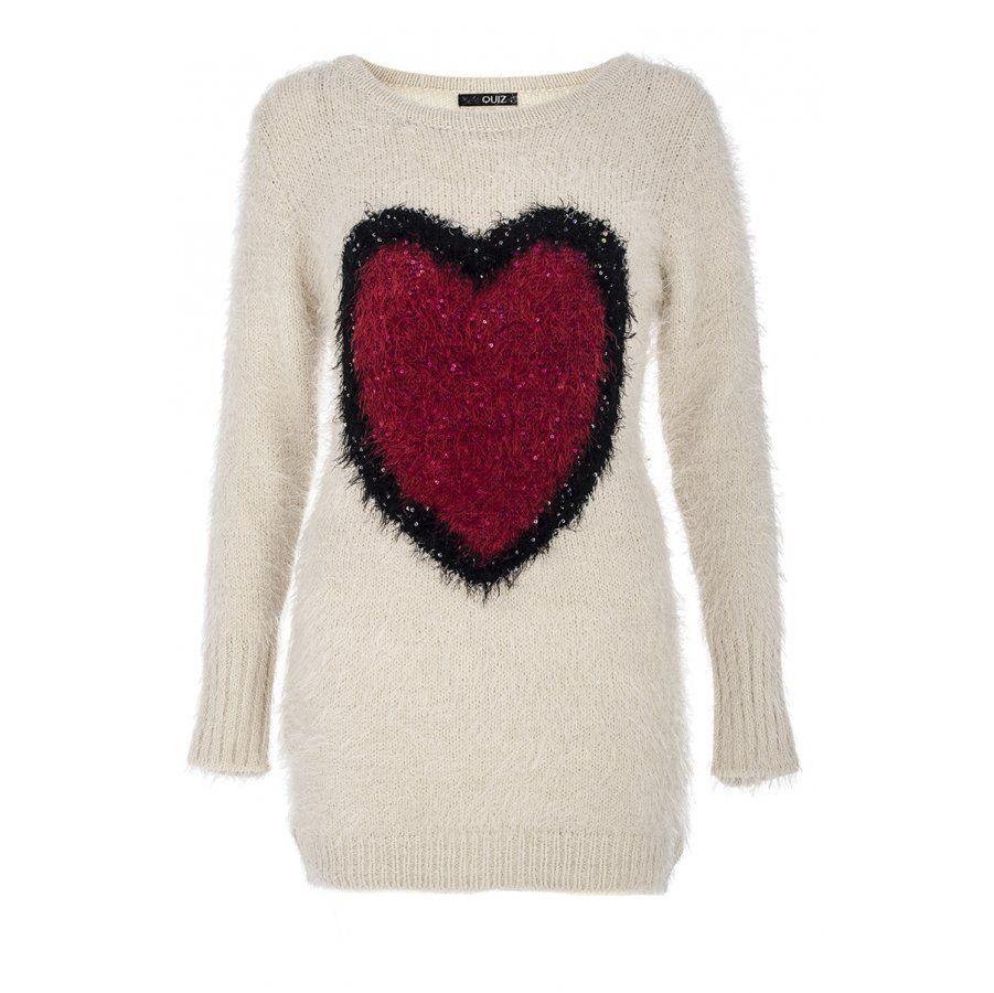 Beige fuzzy knit heart jumper quiz clothing clothing pinterest