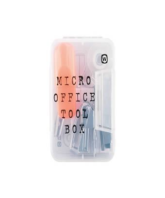 Micro Office Tool Box Stay organised wherever you go! Includes mini Stapler and Sellotape. Please note: Pen colour may vary. Size: 2.5 inch x 3.5 inch http://www.comparestoreprices.co.uk/mens-clothes/micro-office-tool-box.asp