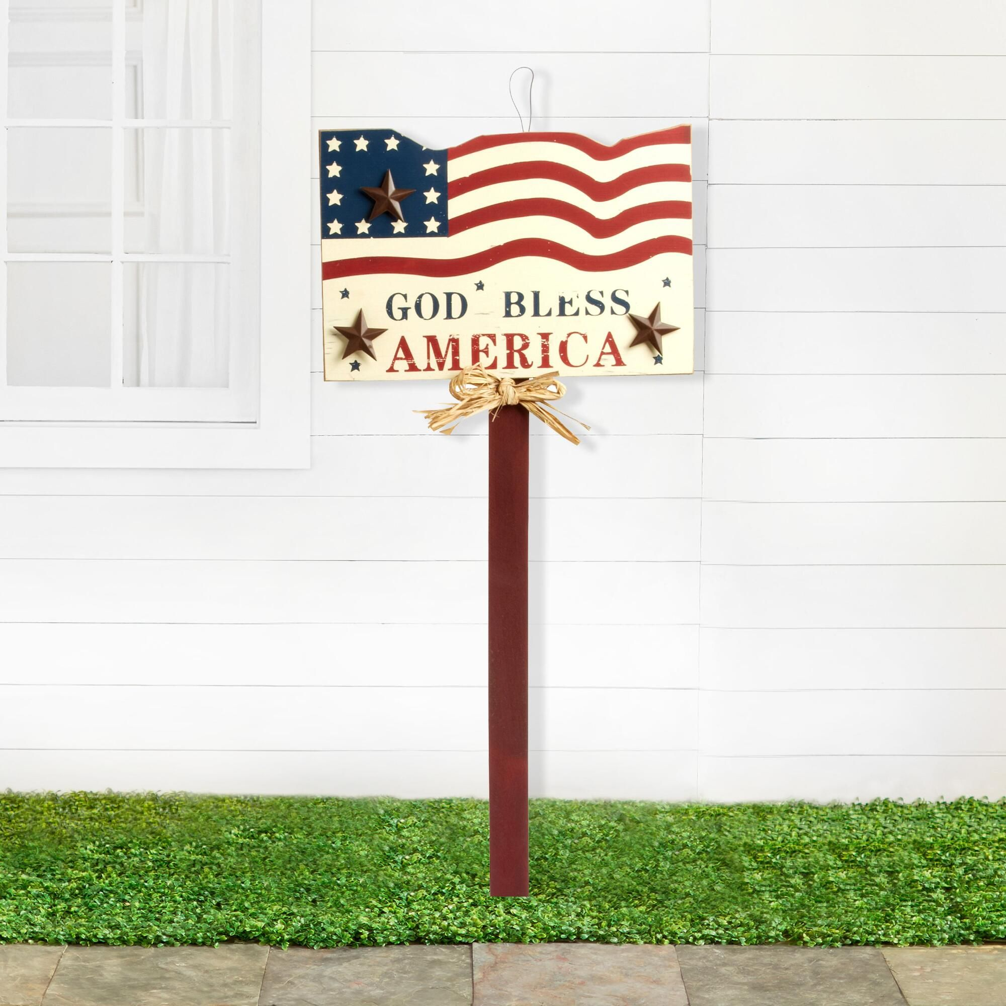 Pledge Allegiance To Your Country With Our Wooden Yard Stake Topped By A God Bless America Plaque With A Flag Desi Christmas Tree Shop Furniture Gifts Decor