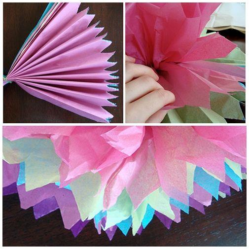 Pompones de papel de seda manualidades y mas - Manualidades con pompones ...