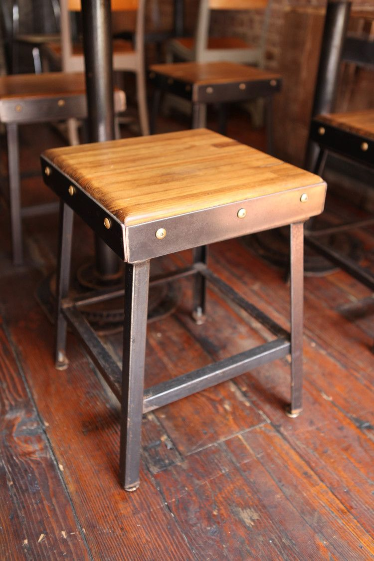 Custom Stool Made By Brooklyn Reclamation For Black Tree Restaurant. Made  Of Reclaimed Bowling Alley And Recycled Metal.
