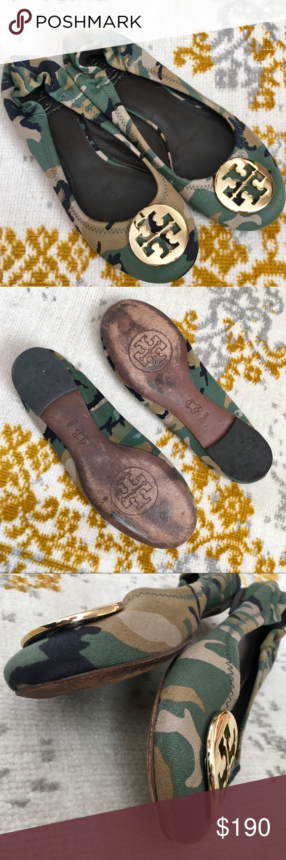 1b80dc714e34 Tory Burch Camo Reva Flats 7.5 EUC UNICORN RARE濾 Excellent condition- only  wear is to the soles. Beautiful flats! Tory Burch Shoes Flats   Loafers