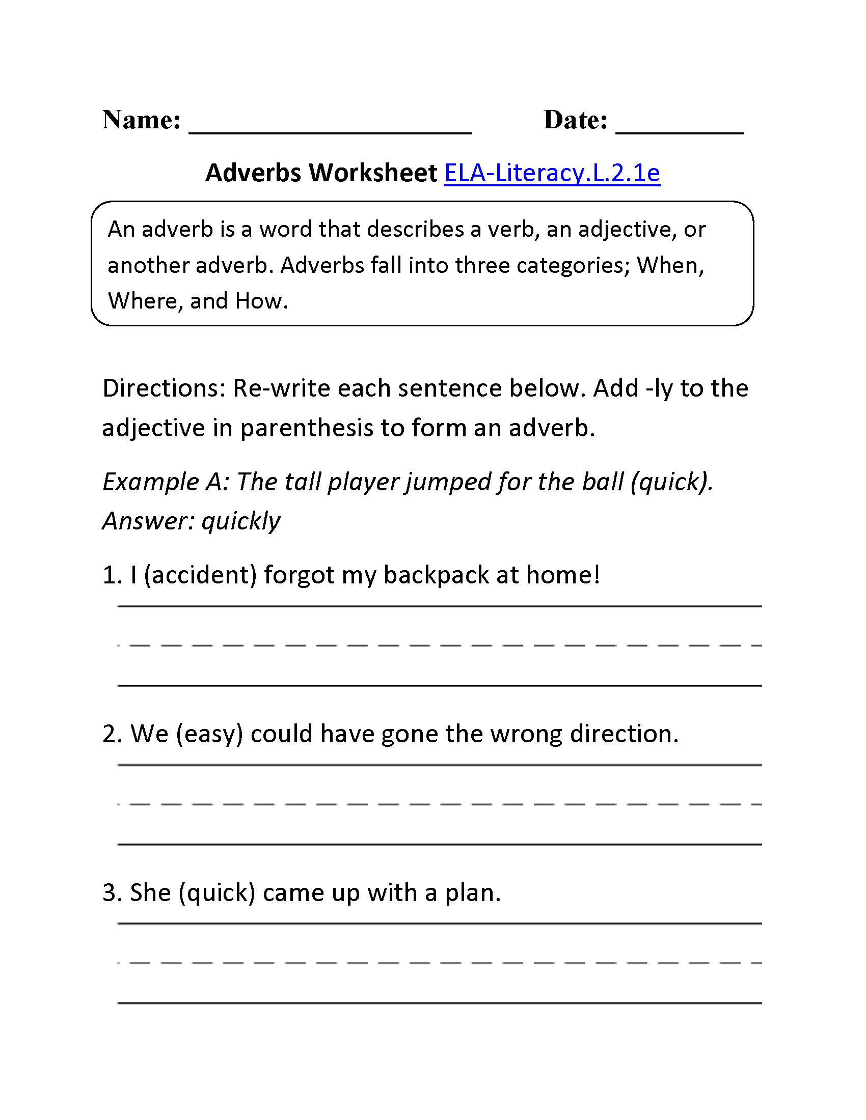 Adverbs Worksheet 2 Ela Literacy L 2 1e Language Worksheet
