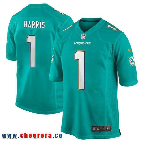finest selection bdc89 3e22f Nike Miami Dolphins #1 Charles Harris Aqua 2017 Draft Pick ...