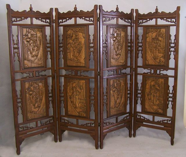 chinese screens room dividers | ... screen room divider large four panel  chinese mahogany